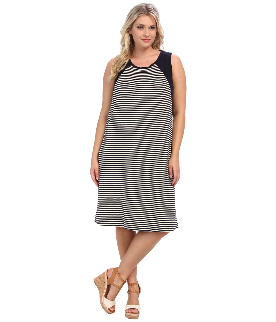 Karen Kane Plus - Plus Size Contrast Yoke Dress (Stripe) Women's Dress