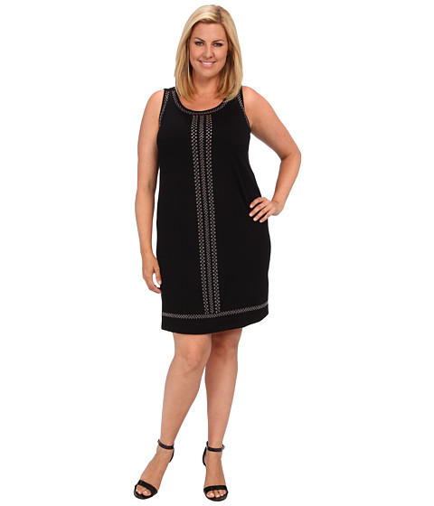 Karen Kane Plus - Plus Size Isabel S/L Dress (Black) Women's Dress