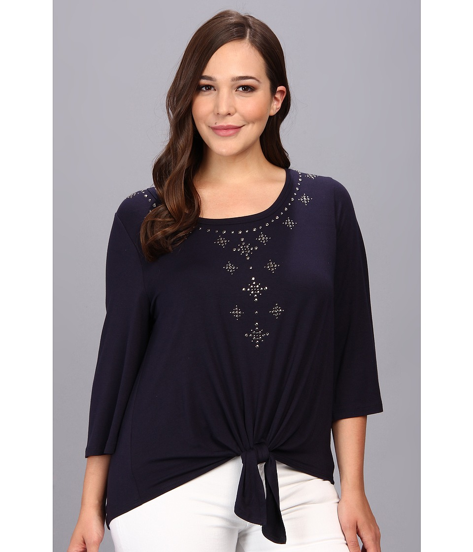 Karen Kane Plus - Plus Size Front Embellished Top (Navy) Women's Blouse