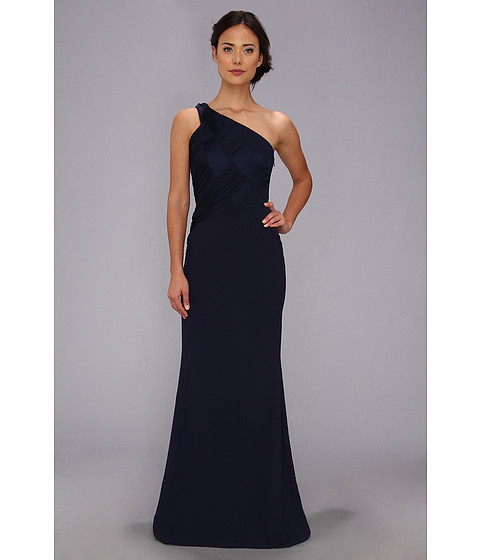 Badgley Mischka - Basket Weave One Shoulder Gown (Navy) Women's Dress