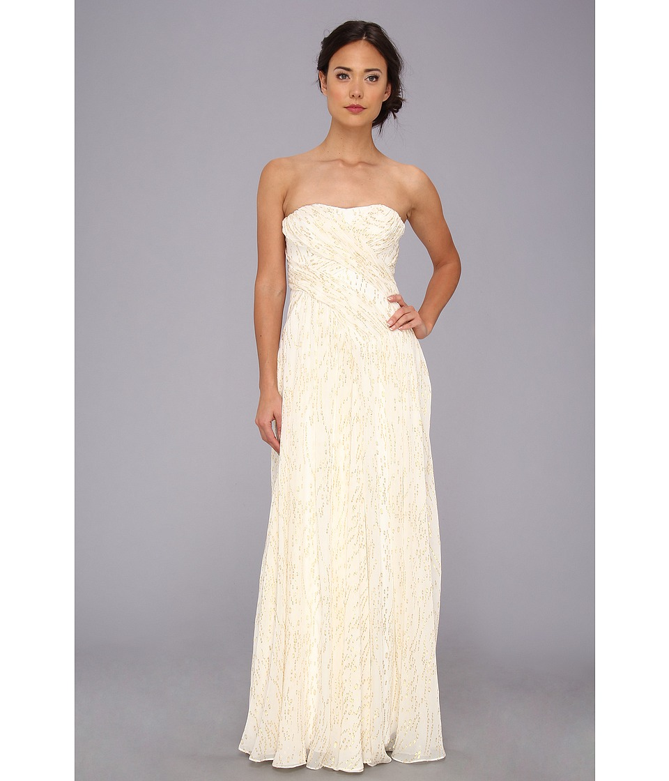 Badgley Mischka - Lurex Threaded Strapless Gown (Ivory) Women's Dress