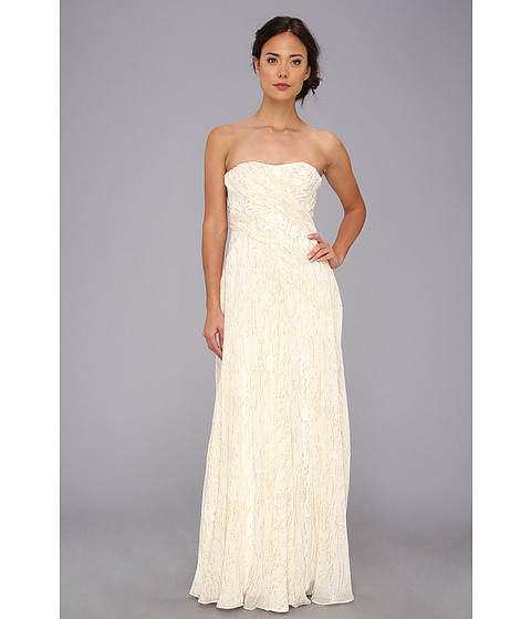 Badgley Mischka - Lurex Threaded Strapless Gown (Ivory) Women