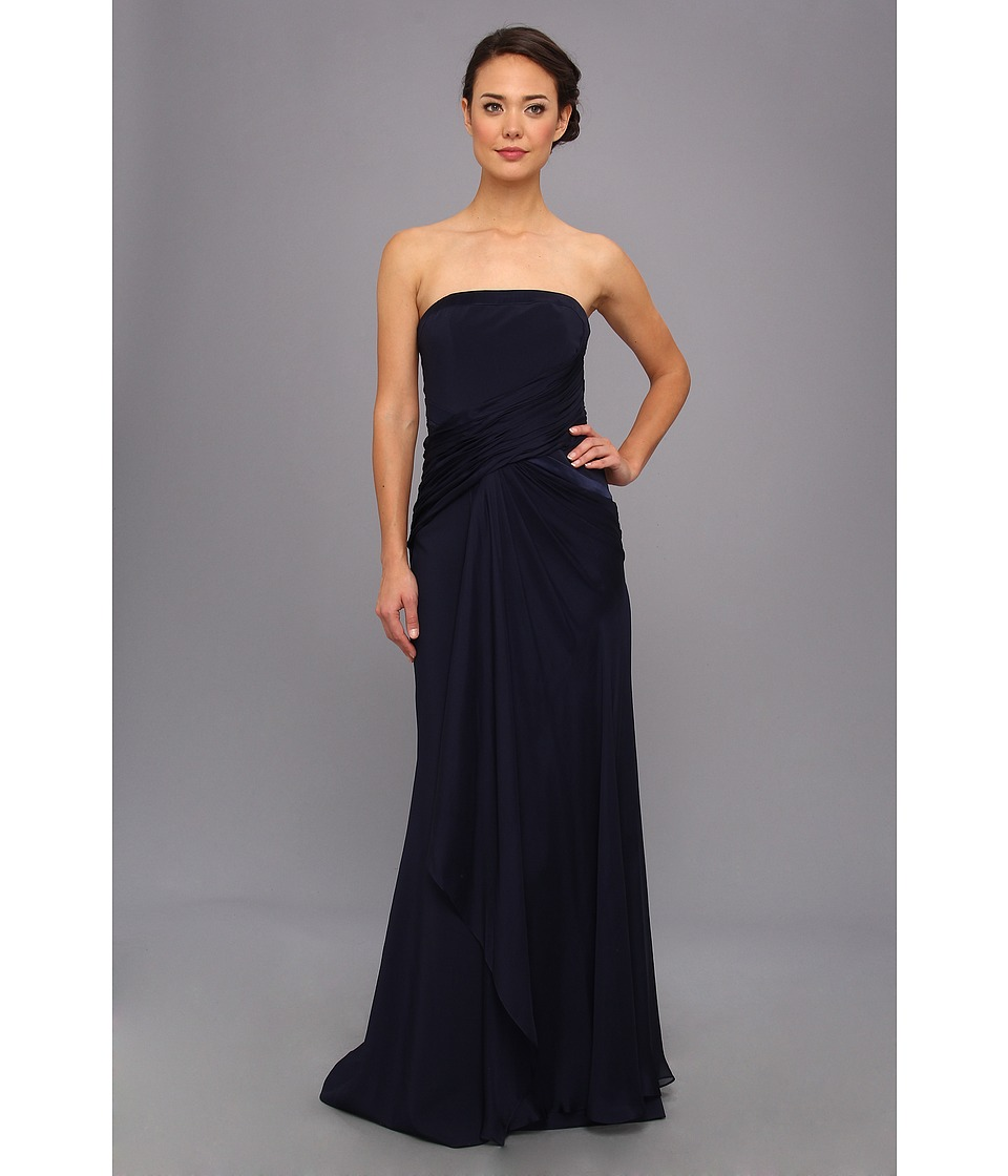 Badgley Mischka - Cross Drape Strapless Gown (Navy) Women's Dress