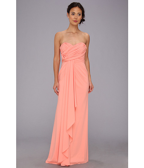 Badgley Mischka - Strapless Gown (Coral) Women
