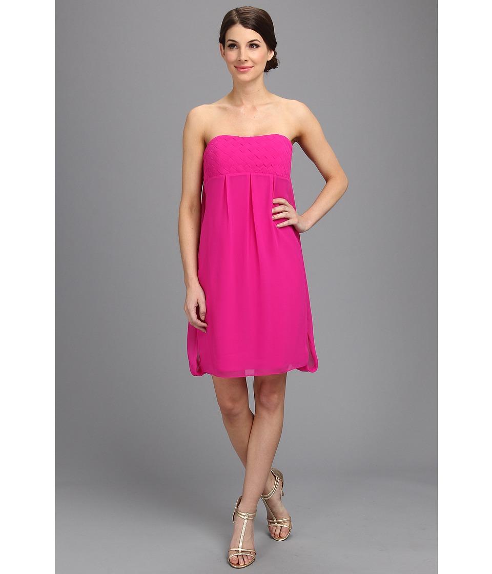 Badgley Mischka - Basket Weave Cocktail Dress (Hot Pink) Women's Dress