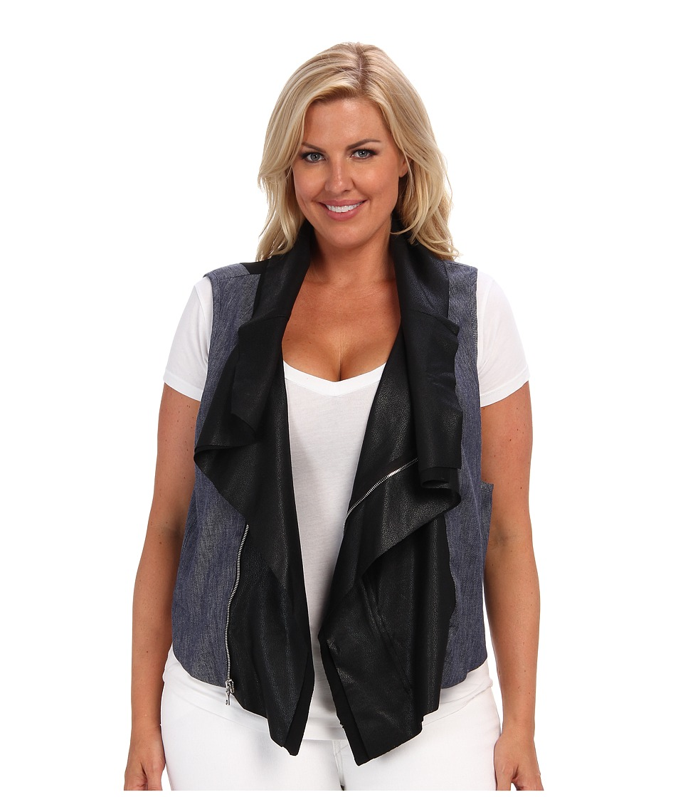 Karen Kane Plus - Plus Size Contrast Moto Vest (Black) Women