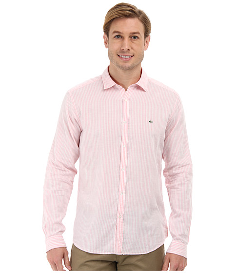 Lacoste - Long Sleeve Double Face Voile Stripe Woven Shirt (Sandalwood) Men