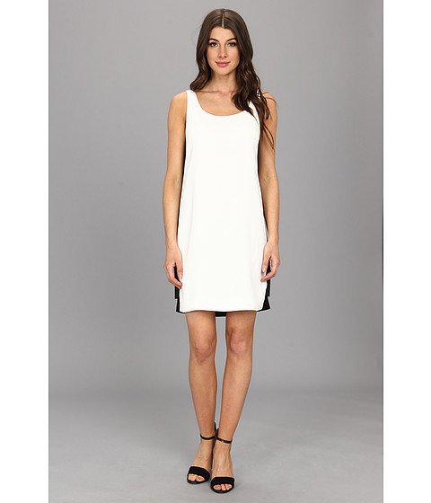 Vince Camuto - Shift Dress w/ Contrast Black Sequin Side Panels (White/Black) Women