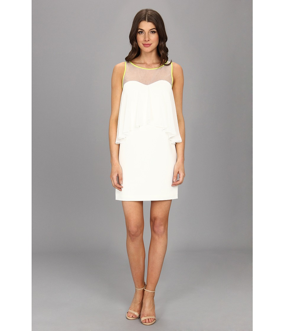 Vince Camuto - Sheath Dress w/ Hi-Lo Drape Neon Piping (White) Women's Dress