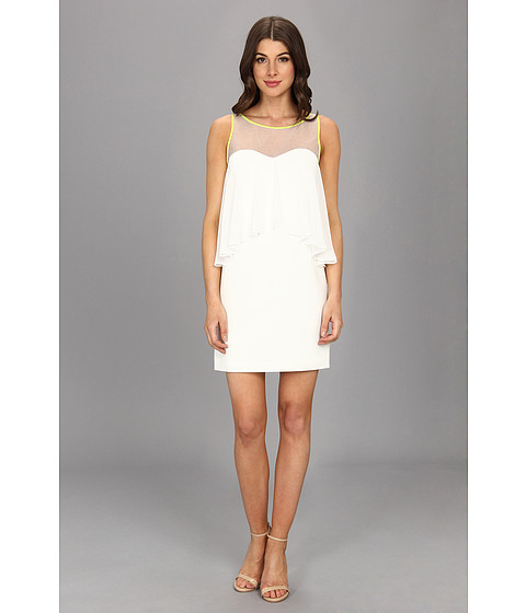 Vince Camuto - Sheath Dress w/ Hi-Lo Drape Neon Piping (White) Women's Dress