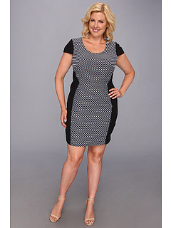 SALE! $74.99 - Save $75 on DKNYC Plus Size Roma Geo Jacquard Cap Sleeve Dress w Ponte Piecing (Eclipse) Apparel - 49.84% OFF $149.50