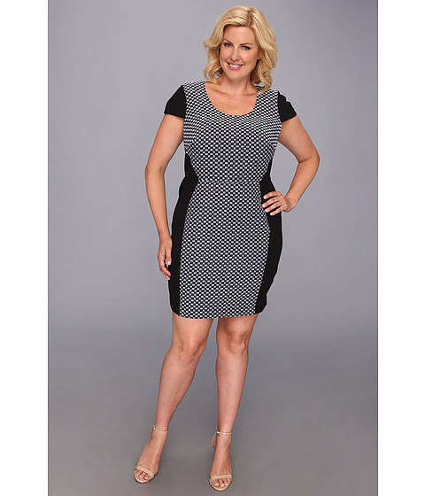 DKNYC - Plus Size Roma Geo Jacquard Cap Sleeve Dress w/ Ponte Piecing (Eclipse) Women