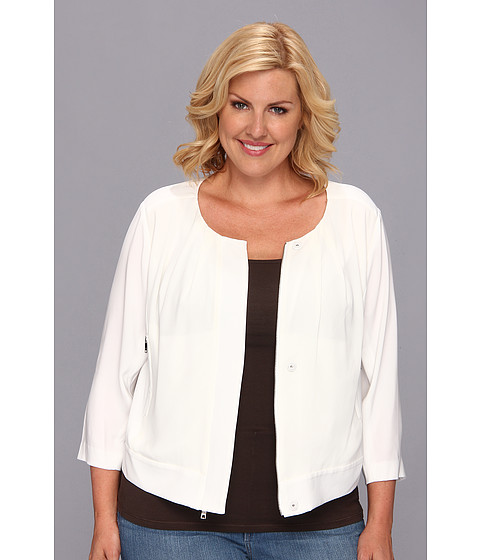 DKNYC - Plus Size Tech Crepe 3/4 Sleeve Chiffon Front Cropped Jacket (Ivory) Women