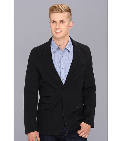 DKNY Jeans - Half Lined Washed Canvas Blazer (Black) Men's Jacket
