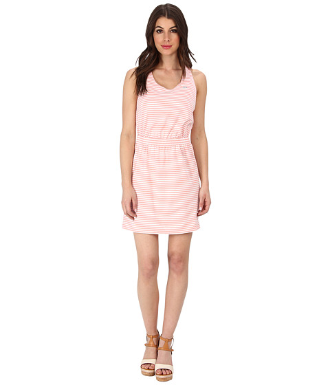 Lacoste - L!VE Sleeveless Striped Criss-Cross Back Tank Dress (White/Minikin Pink) Women's Dress
