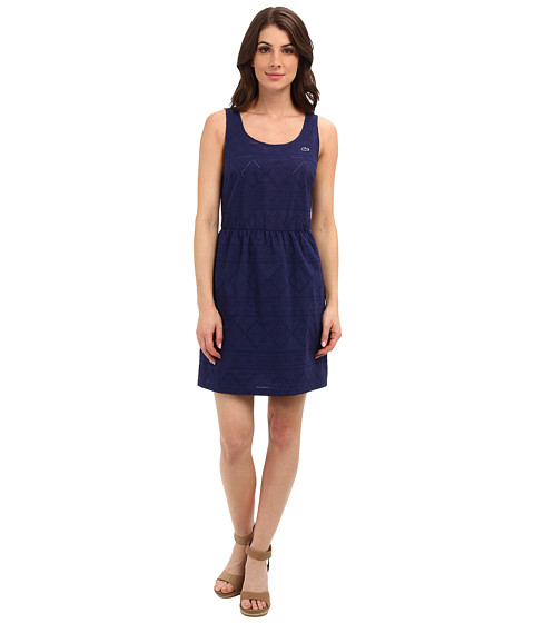 Lacoste - L!VE Sleeveless Embroidered Tank Dress (Methylene) Women's Dress