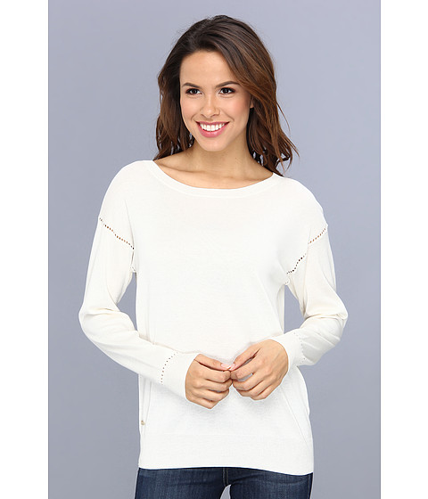 Lacoste - Long Sleeve Ladder Stitch Open Neck Sweater (Cake Flour White) Women