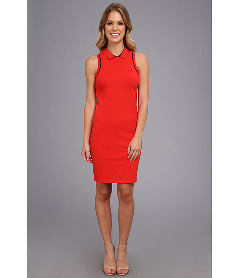 Lacoste - Sleeveless Pique Polo Dress (Lust Red/Navy Blue Used) Women's Dress