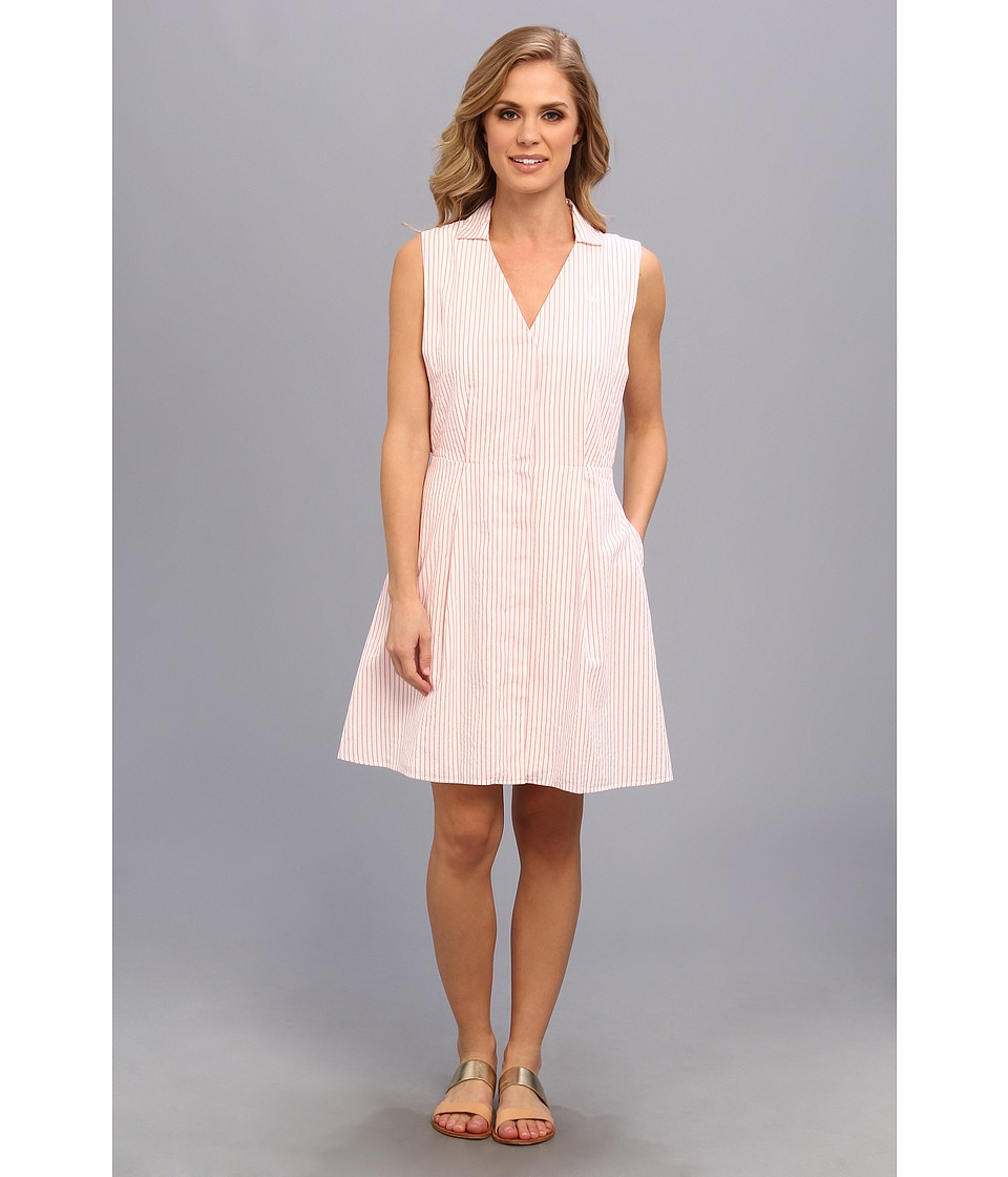 Lacoste - Sleeveless Stripe Seersucker Shirtdress (White/Crevettes Pink) Women's Dress