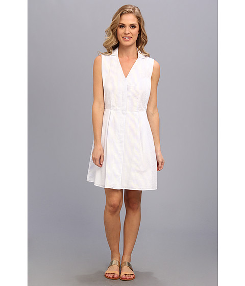Lacoste - Sleeveless Stripe Seersucker Shirtdress (White/Frost Blue) Women's Dress
