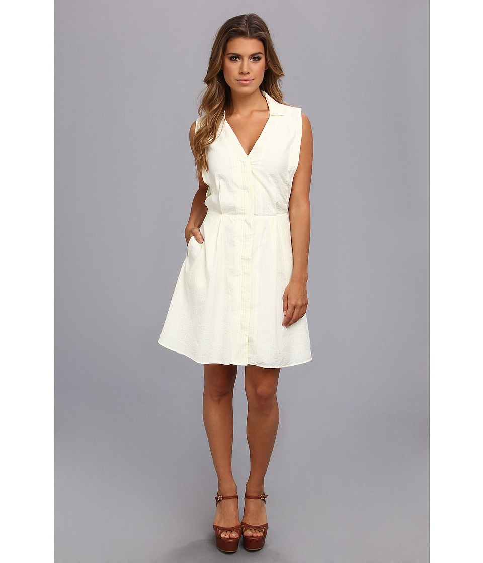 Lacoste - Sleeveless Stripe Seersucker Shirtdress (White/Jonquil Yellow) Women's Dress