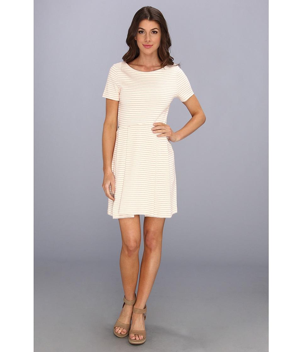 Lacoste - Short Sleeve Interlock Stripe Jersey Dress (Cake Flour White/Lust Red) Women