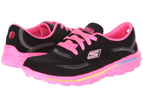 SKECHERS KIDS - Go Walk 2-Stance 81040L (Toddler/Little Kid/Big Kid) (Black Smooth/Suede/Hot Pink Trim) Girls Shoes