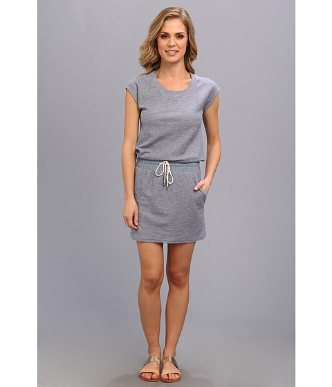 Lacoste - Short Sleeve Fleece Drawstring Dress (Bellflower Blue Chine) Women's Dress