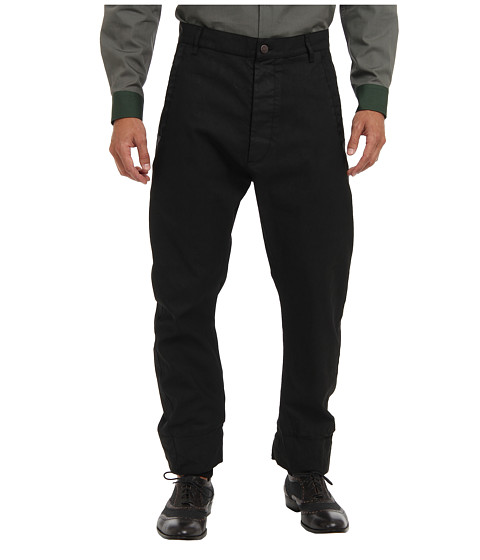 Vivienne Westwood MAN - Samurai Stretch Coated Cotton Trouser (Black) Men