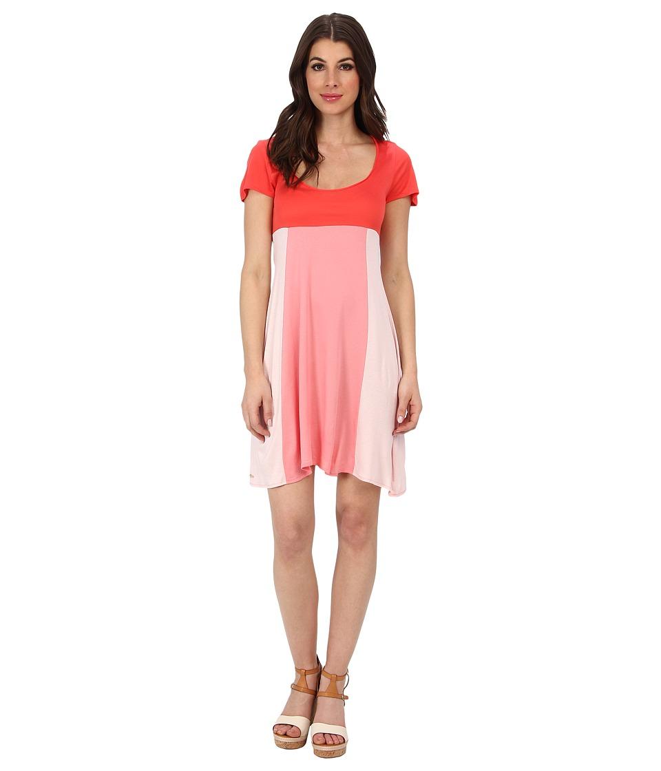 Lacoste - Short Sleeve Color Block Slub Jersey Dress (Fusion Pink/Crevettes Pink) Women