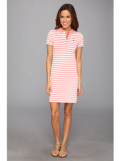 SALE! $59.99 - Save $90 on Lacoste Short Sleeve Stretch Pique Stripe Polo Dress (Crevettes Pink White Fusi) Apparel - 60.01% OFF $150.00