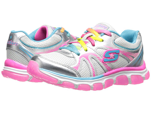SKECHERS KIDS - TBD 80517L (Toddler/Little Kid/Big Kid) (Silver/Multi) Girls Shoes