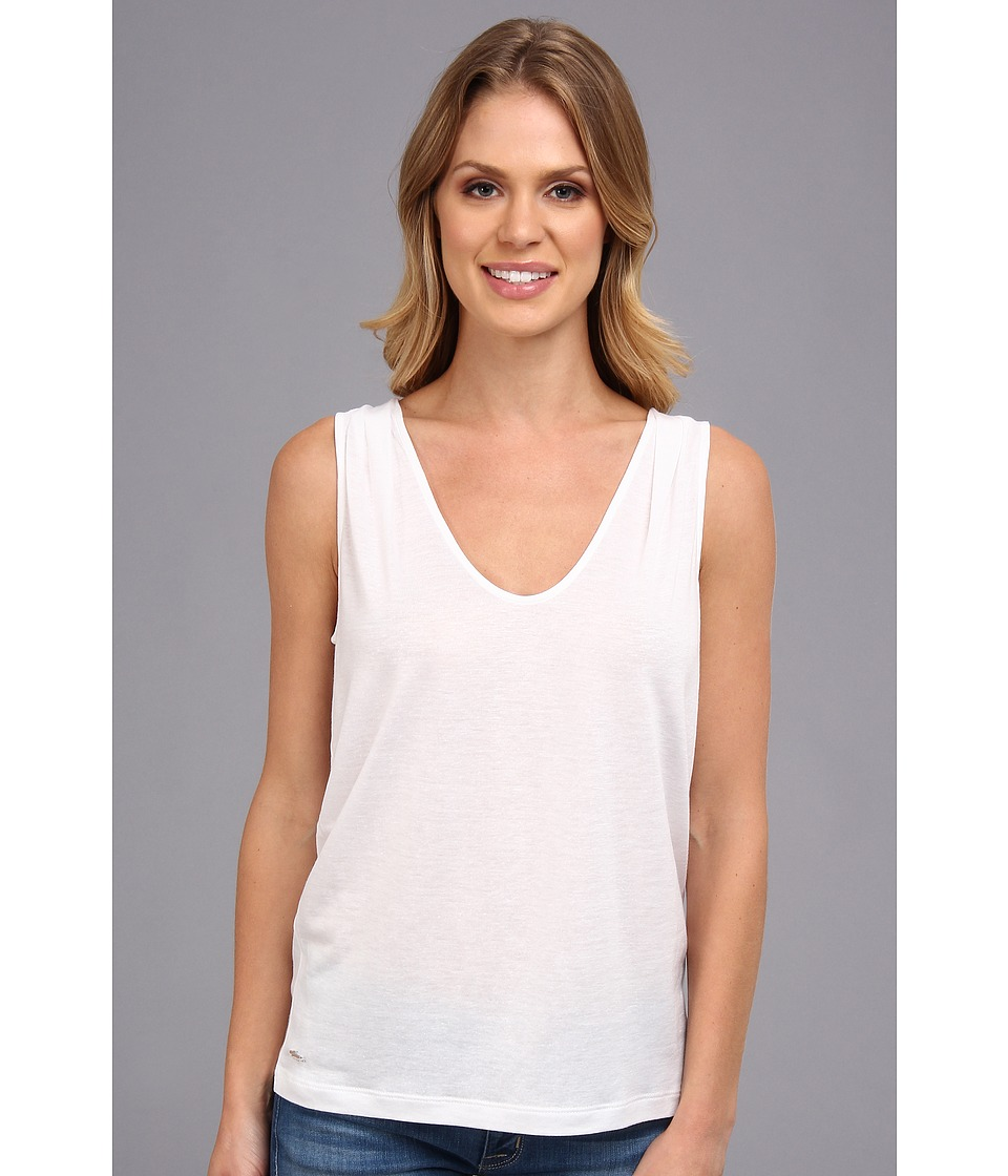 Lacoste - Sleeveless Slub V-Neck Tee-Shirt (White) Women's Sleeveless