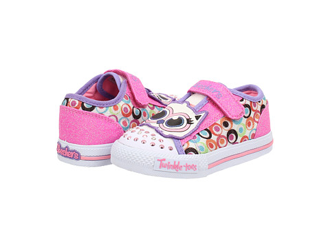 SKECHERS KIDS - Twinkle Toes-Shuffles Lights 10393N (Toddler/Little Kid) (White Smooth/Multi Trim) Girls Shoes