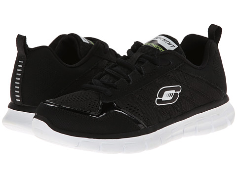 SKECHERS KIDS - Synergy - Power Switch 95495L (Little Kid/Big Kid) (Black Suede/White Smooth/Royal Trim) Boys Shoes