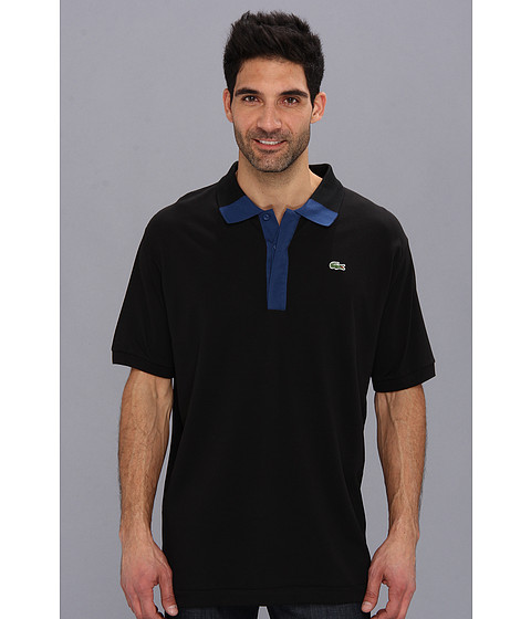 Lacoste - Big Short Sleeve Hidden Placket Color Block Mini Pique Polo (Black/Inkwell Blue) Men's Short Sleeve Pullover