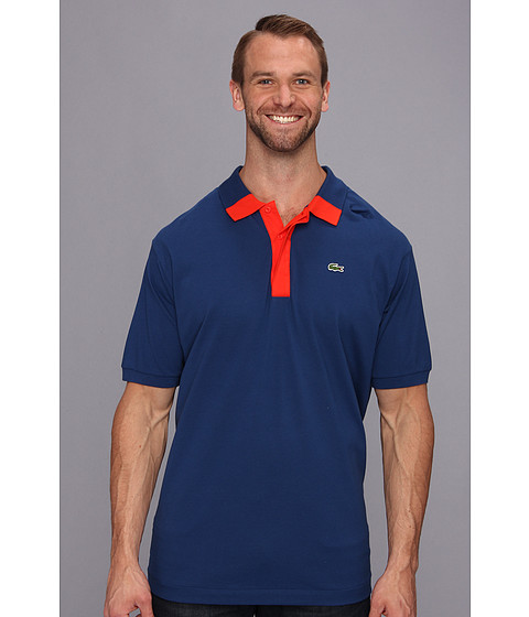 Lacoste - Big Short Sleeve Hidden Placket Color Block Mini Pique Polo (Inkwell Blue/Lust Red) Men