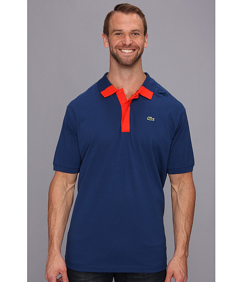 Lacoste - Tall Short Sleeve Hidden Placket Color Block Mini Pique Polo (Inkwell Blue/Lust Red) Men