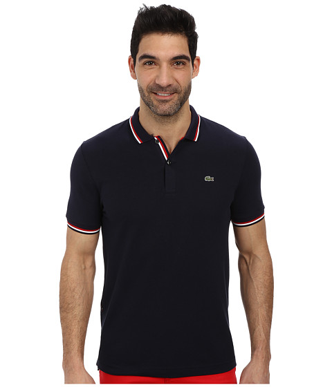 Lacoste - Live Short Sleeve Semi-Fancy Pique Shirt (Navy Blue/Red-White/Navy) Men's Short Sleeve Knit