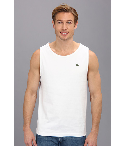 Lacoste - Cotton Jersey Tank Top (White) Men's Sleeveless