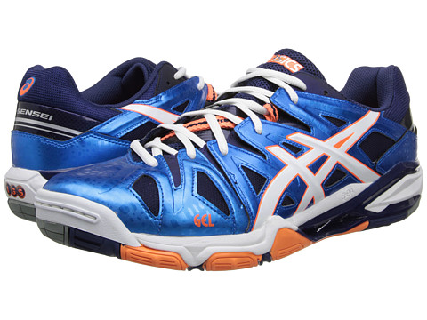ASICS - GEL-Sensei 5 (Blue/White/Orange) Men's Volleyball Shoes