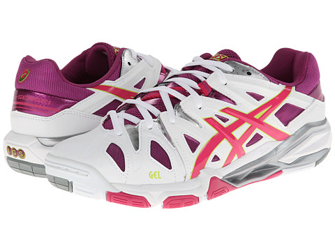 ASICS - GEL-Sensei 5 (White/Magenta/Lime) Women's Volleyball Shoes