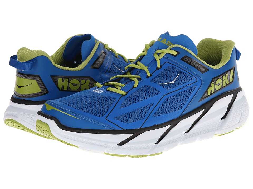 Hoka One One - Clifton (Blue/Black/Lime) Men's Running Shoes
