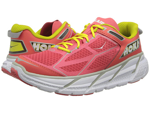 Hoka One One - Clifton (Coral/White/Yellow) Women's Running Shoes