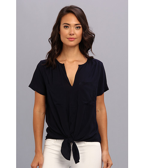 Karen Kane - Short Sleeve Tie Front Top (Navy) Women
