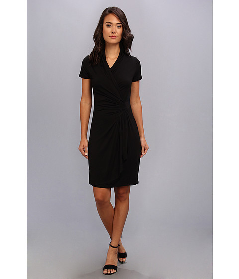 Karen Kane - Short Sleeve Cascade Wrap Dress (Black) Women
