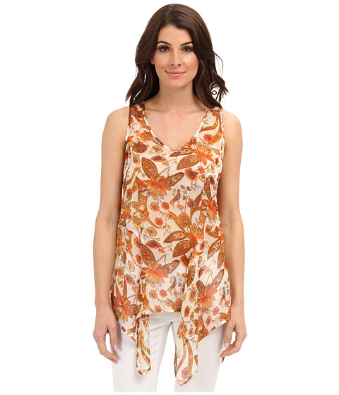 Karen Kane - Floral Print Tank (Orange) Women's Blouse