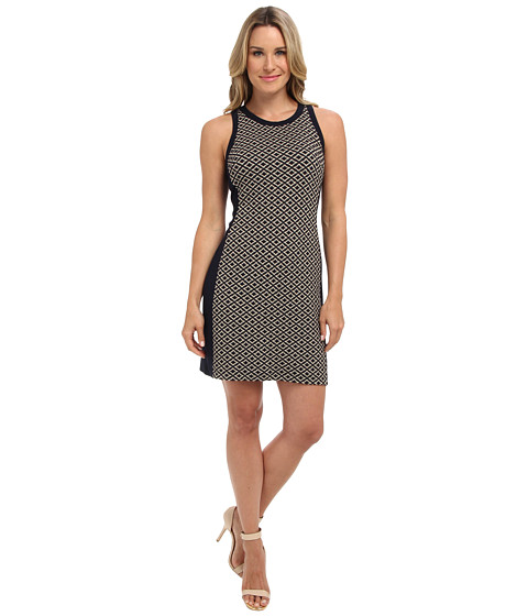 Karen Kane - Cleo Jacquard Panel Dress (Navy) Women