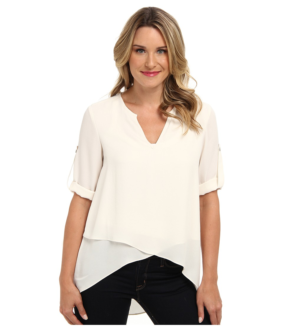 Karen Kane - Asymmetrical Hem Wrap Top (Cream) Women's Blouse