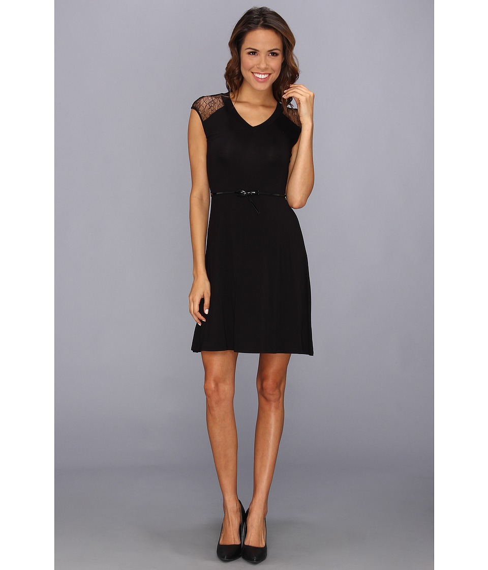 Calvin Klein - Belted Rayin With Lace Dress CD4N12Q8 (Black/Black) Women's Dress